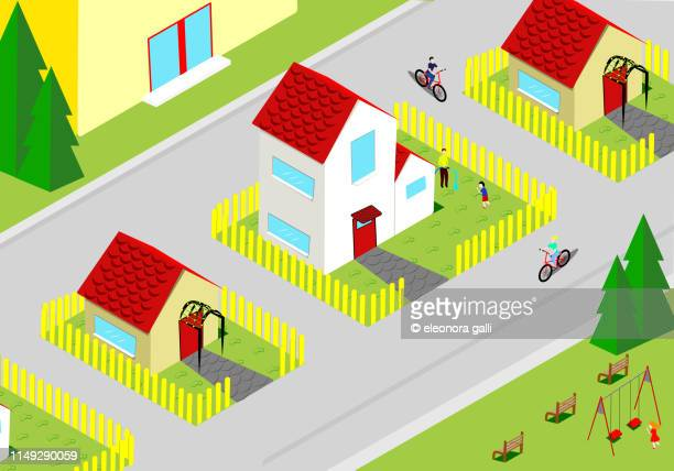 the district - isometric projection stock photos and pictures