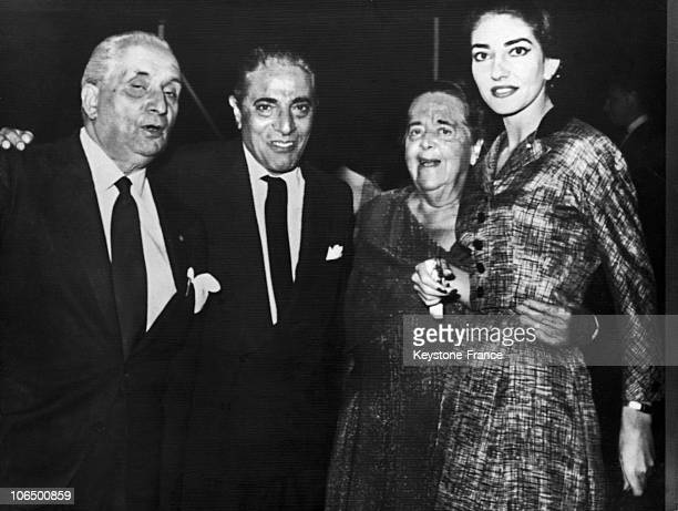 The Diva Her Lover The Greek Ship Industrialist Aristite Onassis Her Husband Giovanni Battista Meneghini And The Journalist Elsa Maxwell Who...