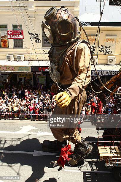 The Diver Giant walks up Barrack Street during the Perth International Arts Festival on February 14 2015 in Perth Australia