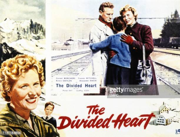 The Divided Heart, lobbycard, left: Cornell Borchers, Martin Stephens, center from left: Armin Dahlen, Martin Stephens, Cornell Borchers, 1954.