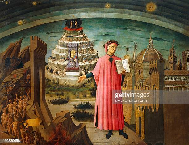 The Divine Comedy by Dante Alighieri by Domenico di Michelino fresco Basilica of Saint Mary of the Flower Florence Italy 15th century