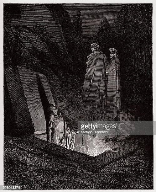 The Divine Comedy Inferno Canto 10 Farinata degli Uberti addresses Dante by Dante Alighieri Engraving by Gustave Dore 1885