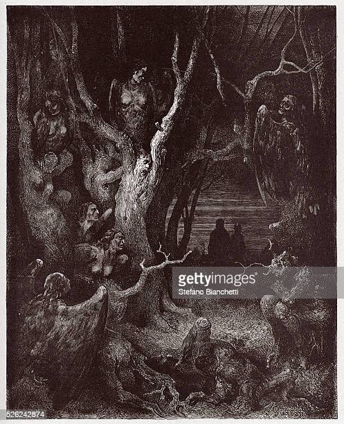The Divine Comedy Inferno Canto 13 The Harpies in the forest of suicides by Dante Alighieri Engraving by Gustave Dore 1885