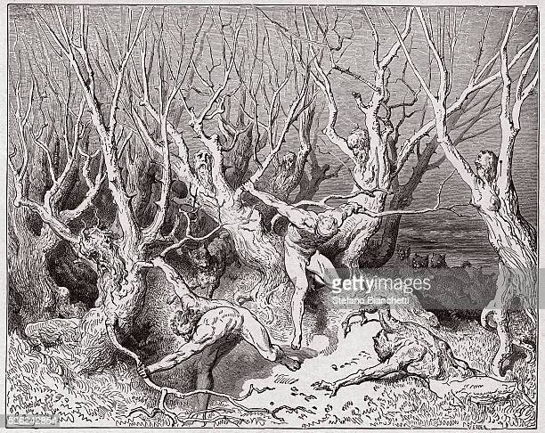 The Divine Comedy Inferno Canto 13 The suicides flee the forest by Dante Alighieri Engraving by Gustave Dore 1885