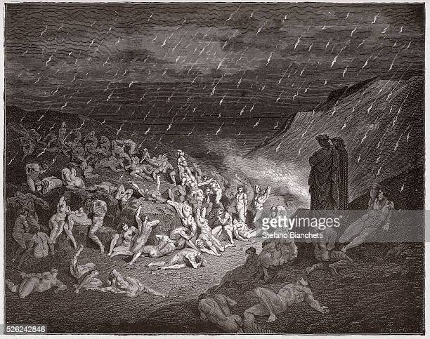 The Divine Comedy , Inferno, Canto 14 : The violent, tormented in the rain of fire - by Dante Alighieri - Engraving by Gustave Dore , 1885