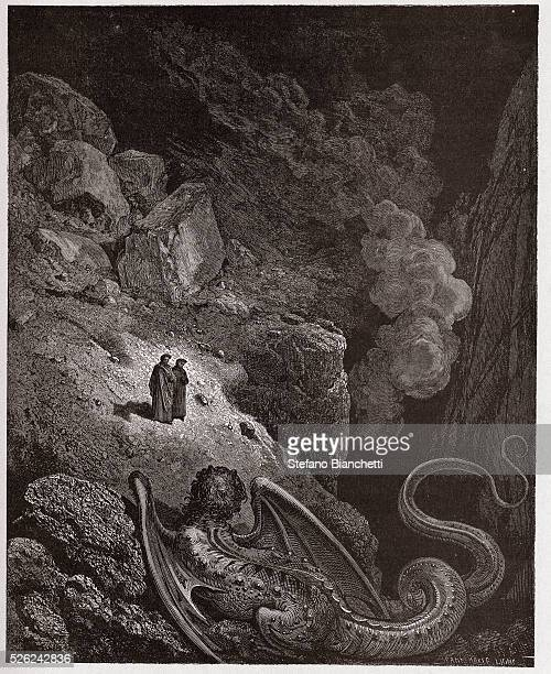 The Divine Comedy Inferno Canto 17 Geryon symbol of deceit by Dante Alighieri Engraving by Gustave Dore 1885