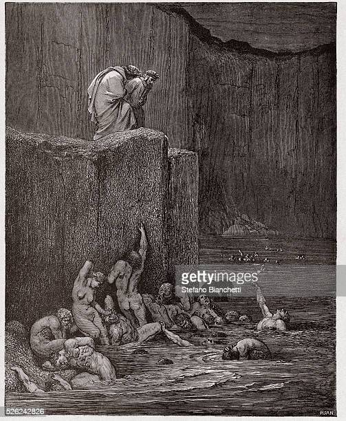 The Divine Comedy Inferno Canto 18 Paramours and flatterers in the eighth circle by Dante Alighieri Engraving by Gustave Dore 1885