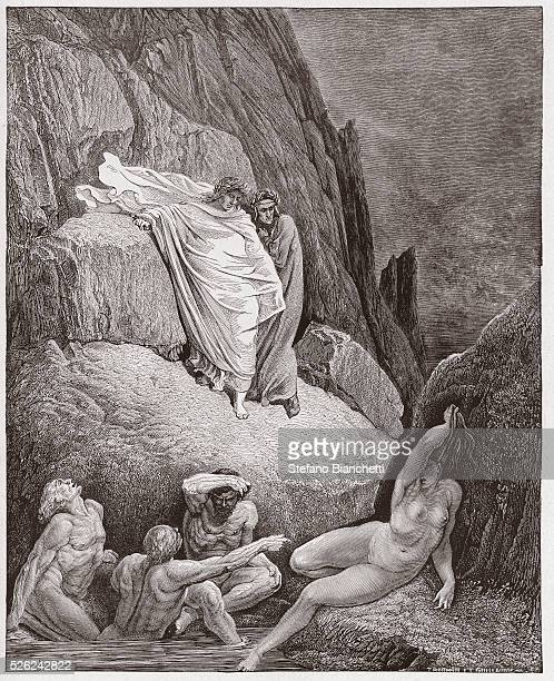 The Divine Comedy Inferno Canto 18 Virgil shows Dante the shade of Thais by Dante Alighieri Engraving by Gustave Dore 1885