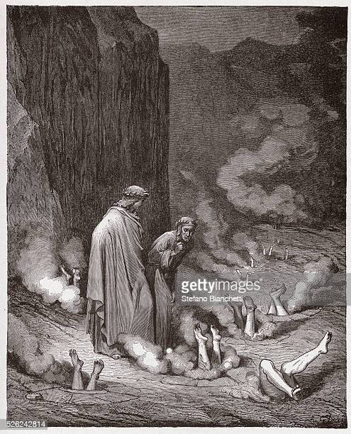 The Divine Comedy Inferno Canto 19 Dante rebukes Pope Nicholas III in the fourth bolgia by Dante Alighieri Engraving by Gustave Dore 1885
