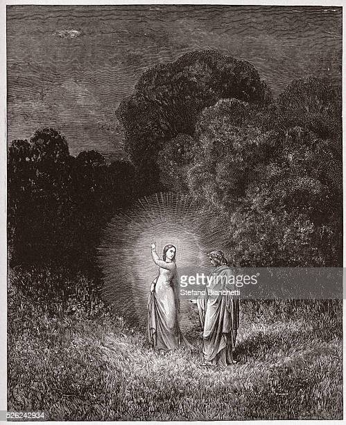 The Divine Comedy , Inferno, Canto 2 : Beatrice and Virgil - by Dante Alighieri - Engraving by Gustave Dore , 1885