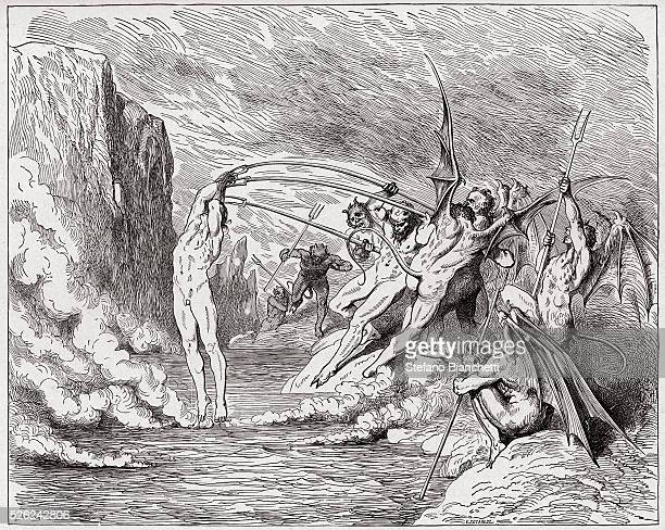 The Divine Comedy , Inferno, Canto 21 : Devils torment the barrators - by Dante Alighieri - Engraving by Gustave Dore , 1885