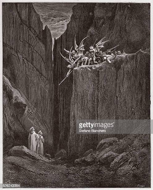 The Divine Comedy Inferno Canto 23 The poets escape the demons of the fifth bolgia by Dante Alighieri Engraving by Gustave Dore 1885