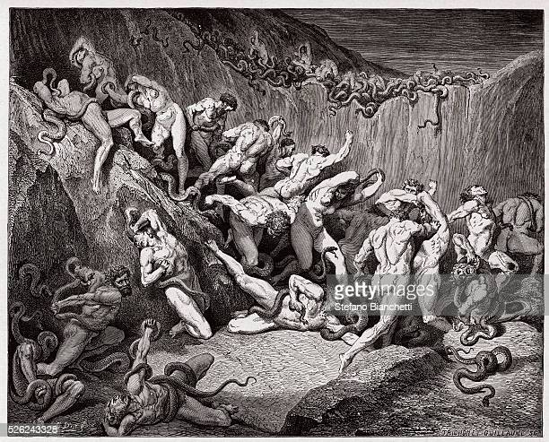 The Divine Comedy Inferno Canto 24 The thieves tormented by serpents by Dante Alighieri Engraving by Gustave Dore 1885