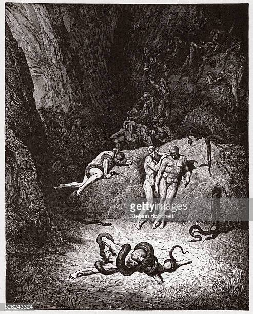 The Divine Comedy Inferno Canto 25 Agnello transforming into a serpent by Dante Alighieri Engraving by Gustave Dore 1885