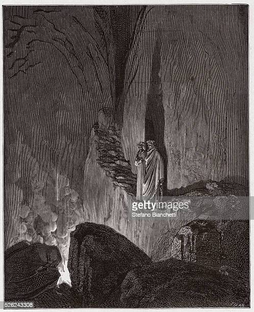The Divine Comedy , Inferno, Canto 26 : The flaming spirits of the Ulysses and Diomedes - by Dante Alighieri - Engraving by Gustave Dore , 1885