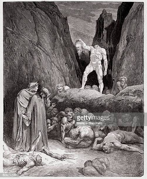 The Divine Comedy , Inferno, Canto 28 : The severed head of Bertrand de Born speaks to Dante - by Dante Alighieri - Engraving by Gustave Dore , 1885