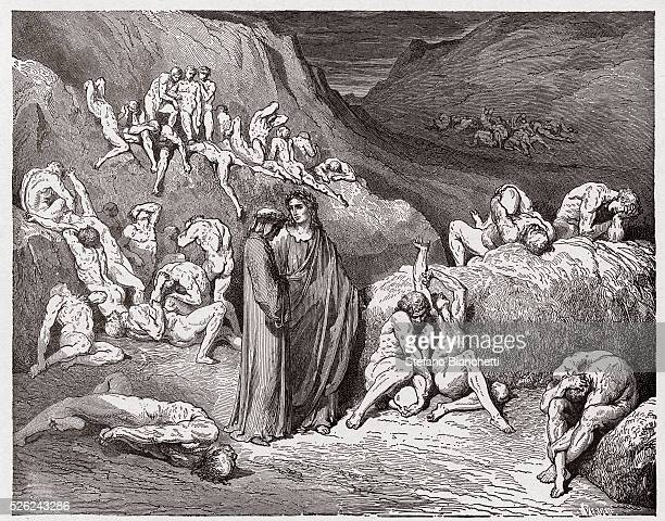 The Divine Comedy , Inferno, Canto 29 : The falsifiers and forgers tormented with itching - by Dante Alighieri - Engraving by Gustave Dore , 1885