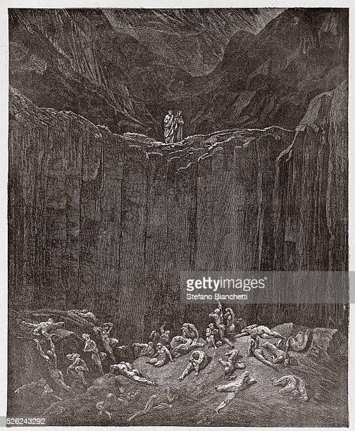 The Divine Comedy , Inferno, Canto 29 : The forgers tormented in the valley - by Dante Alighieri - Engraving by Gustave Dore , 1885