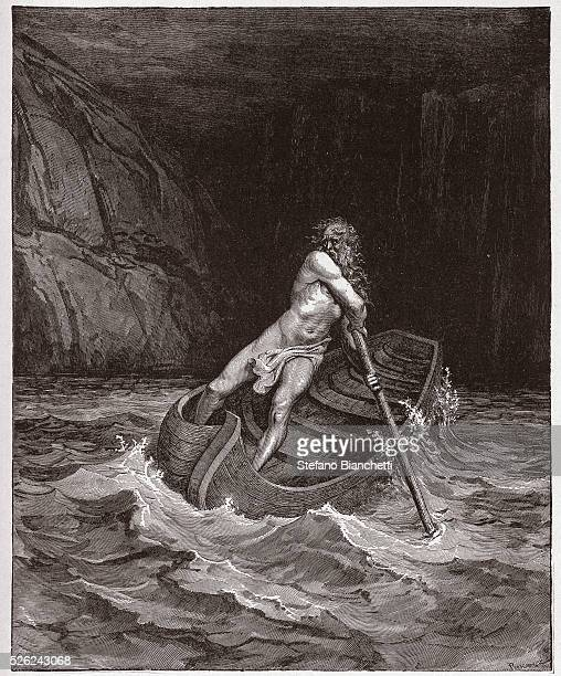 The Divine Comedy Inferno Canto 3 Charon on the River Acheron by Dante Alighieri Engraving by Gustave Dore 1885