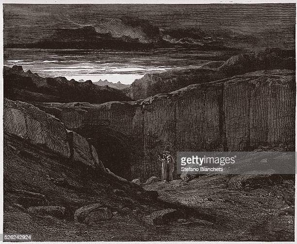 The Divine Comedy Inferno Canto 3 Virgil and Dante at the gates of Hell by Dante Alighieri Engraving by Gustave Dore 1885