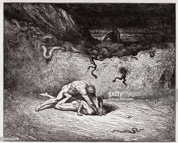 The Divine Comedy , Inferno, Canto 30 : The torment of the forgers in the ninth bolgia - by Dante Alighieri - Engraving by Gustave Dore , 1885