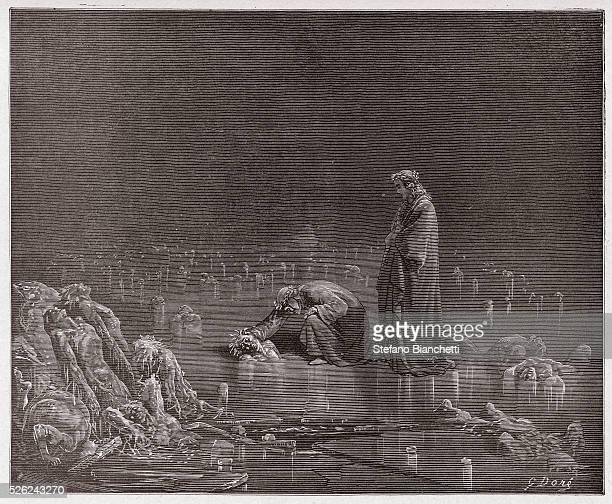 The Divine Comedy Inferno Canto 32 Dante addresses the traitor Bocca degli Abati by Dante Alighieri Engraving by Gustave Dore 1885