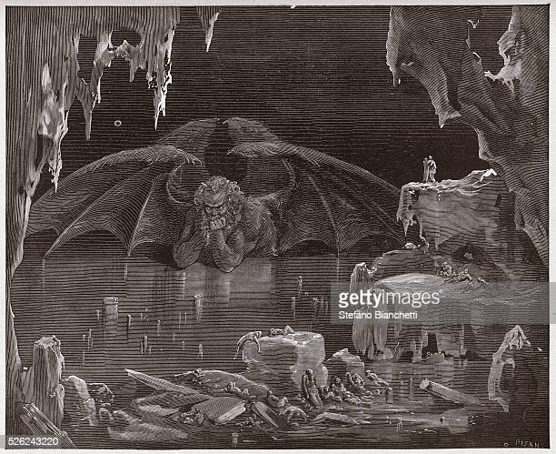 The Divine Comedy Inferno Canto 34 Lucifer king of Hell frozen in the ice by Dante Alighieri Engraving by Gustave Dore 1885