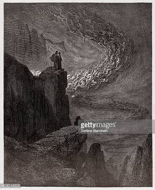 The Divine Comedy , Inferno, Canto 5 : Minos judges the transgressions and dispatches the souls - by Dante Alighieri - Engraving by Gustave Dore ,...
