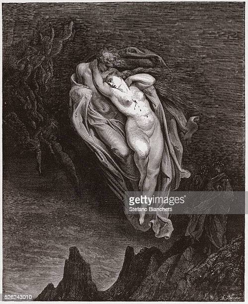 The Divine Comedy Inferno Canto 5 The souls of Paolo and Francesca by Dante Alighieri Engraving by Gustave Dore 1885