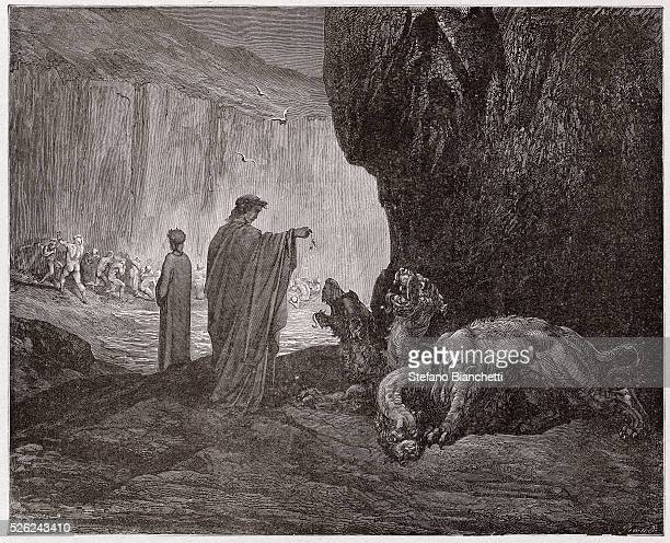 The Divine Comedy , Inferno, Canto 6 : Virgil feeds Cerberus in the third circle - by Dante Alighieri - Engraving by Gustave Dore , 1885