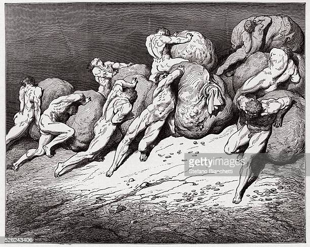 The Divine Comedy , Inferno, Canto 7 : The souls of the avaricious and the prodigal forced to roll heavy stones - by Dante Alighieri - Engraving by...