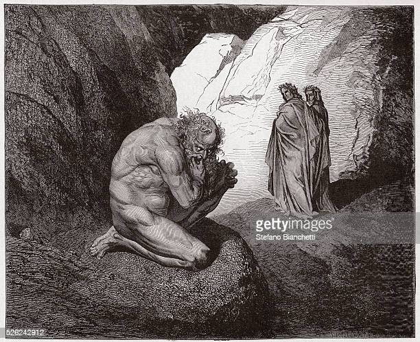 The Divine Comedy , Inferno, Canto 7 : Virgil rebukes Plutus at the entrance to the fourth circle - by Dante Alighieri - Engraving by Gustave Dore ,...