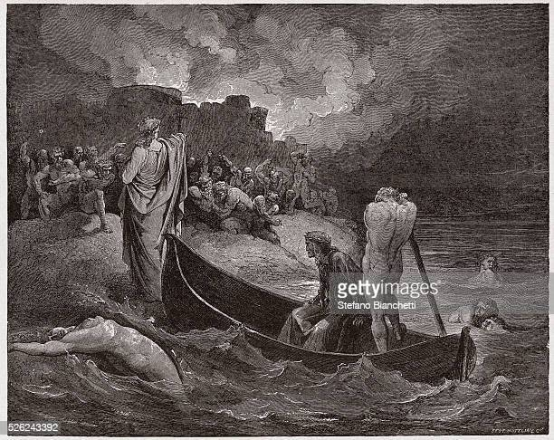 The Divine Comedy Inferno Canto 8 Virgil and Dante disembark at the citadel of Dis by Dante Alighieri Engraving by Gustave Dore 1885