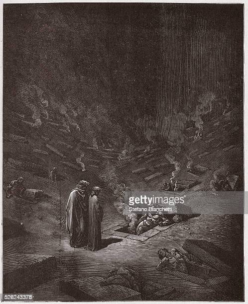 The Divine Comedy Inferno Canto 9 The burning sepulchres of the heresiarchs by Dante Alighieri Engraving by Gustave Dore 1885