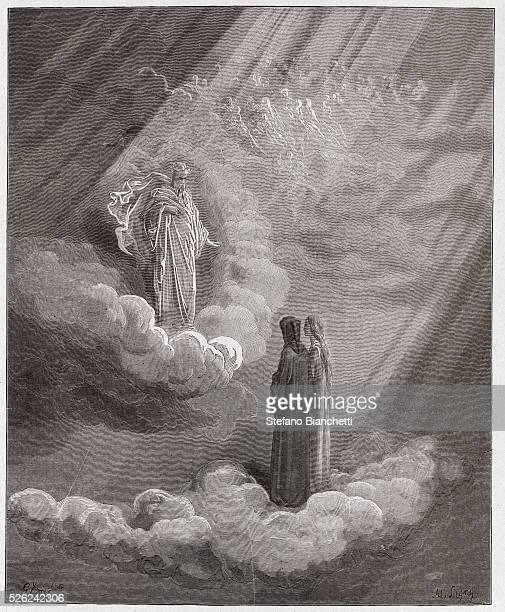 The Divine Comedy , Paradiso, Canto 16 : The soul of Caddiaguida speaks of Florence - by Dante Alighieri - Engraving by Gustave Dore , 1885