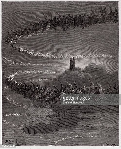 The Divine Comedy , Paradiso, Canto 18 : In the sphere of Jupiter, the blessed souls circle to form letters - by Dante Alighieri - Engraving by...