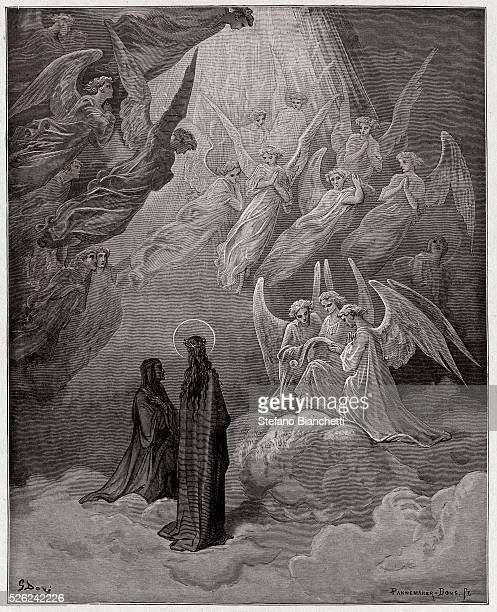 The Divine Comedy Paradiso Canto 20 The luminous souls sing by Dante Alighieri Engraving by Gustave Dore 1885