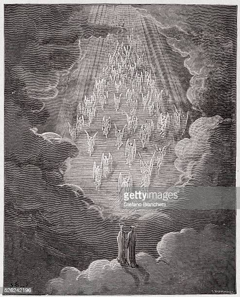 The Divine Comedy , Paradiso, Canto 21 : Beatrice and Dante in the sphere of Saturn - by Dante Alighieri - Engraving by Gustave Dore , 1885