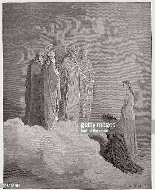 The Divine Comedy , Paradiso, Canto 26 : St. John examines Dante concerning love - by Dante Alighieri - Engraving by Gustave Dore , 1885