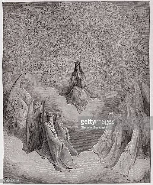 The Divine Comedy , Paradiso, Canto 31 : The queen of heaven - by Dante Alighieri - Engraving by Gustave Dore , 1885