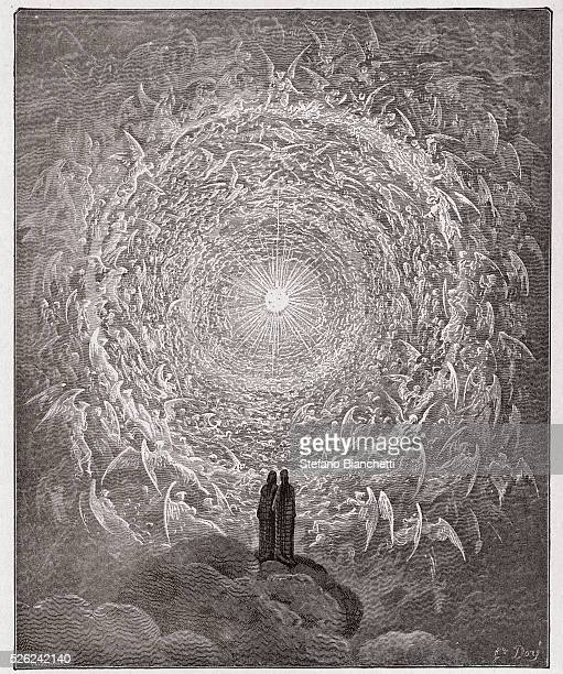 The Divine Comedy Paradiso Canto 31 The saintly throng form a rose in the empyrean by Dante Alighieri Engraving by Gustave Dore 1885