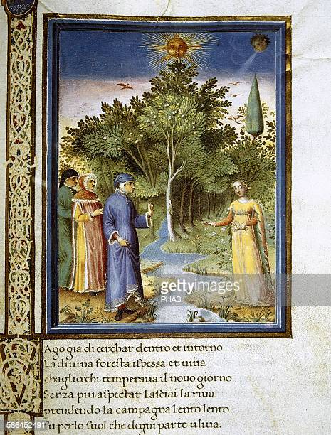 The Divine Comedy Poem by Dante Alighieri Miniature depicting Dante and Virgil in Purgatory Folio 177 r 14801482 Painted by Guglielmo Giraldi Vatican...