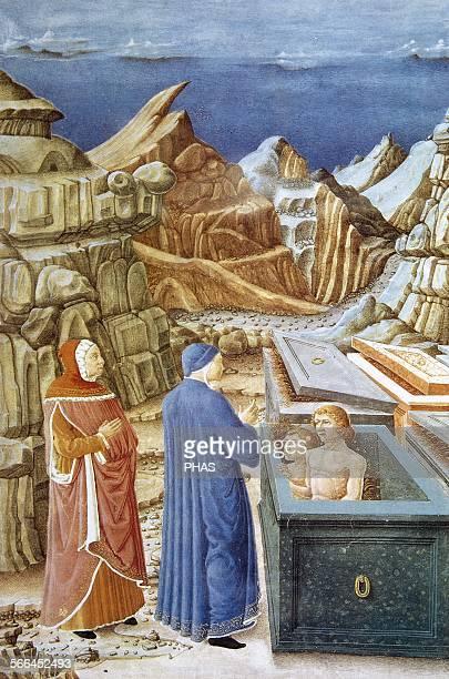 The Divine Comedy Poem by Dante Alighieri Miniature depicting Dante and Virgil in Hell The meeting of Dante with Farinata degli Uberti and Cavalcante...