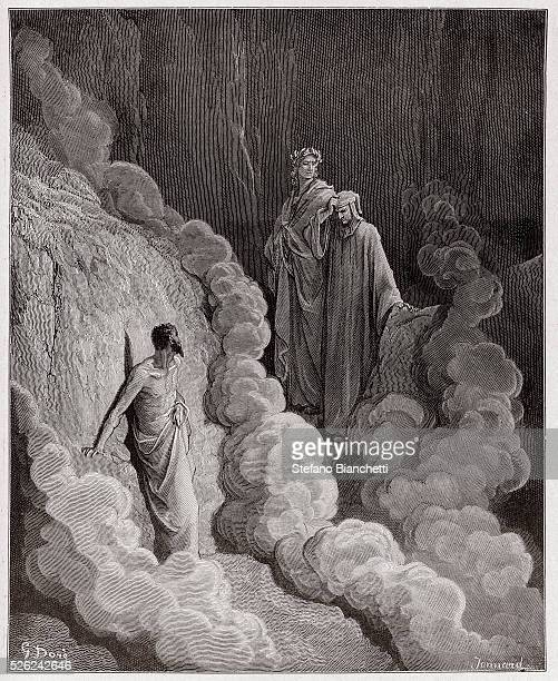 The Divine Comedy , Purgatorio, Canto 16 : Dante speaks to the soul of Marco Lombardo - by Dante Alighieri - Engraving by Gustave Dore , 1885