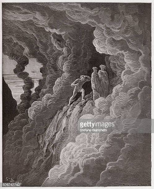 The Divine Comedy , Purgatorio, Canto 16 : Marco Lombardo follows the poets through the smoke - by Dante Alighieri - Engraving by Gustave Dore , 1885