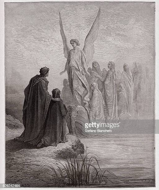 The Divine Comedy , Purgatorio, Canto 2 : The celestial pilot lands the boat - by Dante Alighieri - Engraving by Gustave Dore , 1885