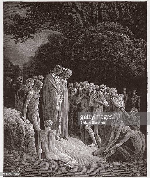 The Divine Comedy , Purgatorio, Canto 23 : The souls of the gluttonous - by Dante Alighieri - Engraving by Gustave Dore , 1885