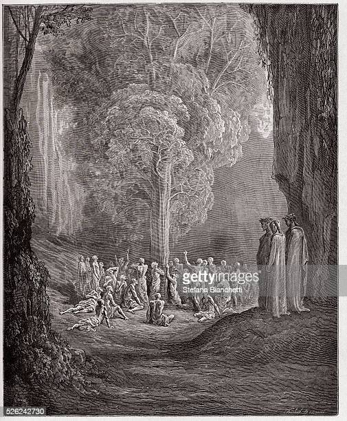 The Divine Comedy , Purgatorio, Canto 24 : The gluttonous souls crying out beneath the tree - by Dante Alighieri - Engraving by Gustave Dore , 1885