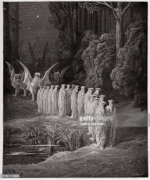 The Divine Comedy Purgatorio Canto 29 The 24 elders in the apocalyptic procession by Dante Alighieri Engraving by Gustave Dore 1885