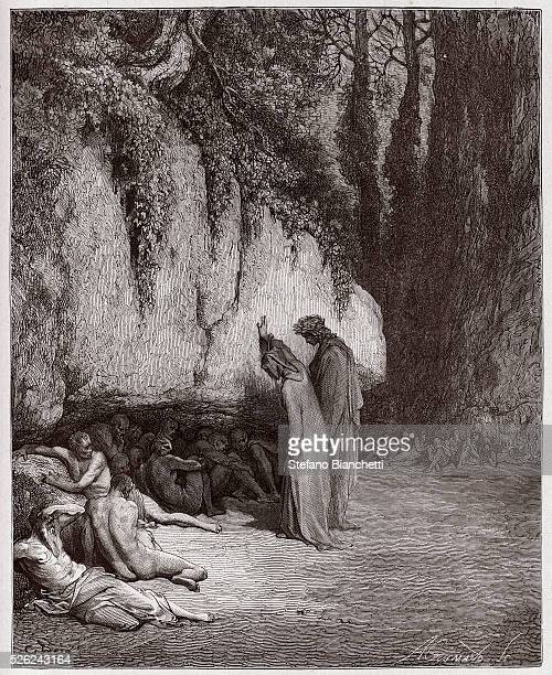 The Divine Comedy Purgatorio Canto 4 The indolent souls beside the rock by Dante Alighieri Engraving by Gustave Dore 1885